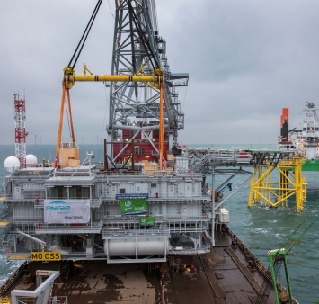 Installation of topside for Merkur Offshore Wind Farm